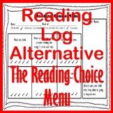 Elementary Reading Log Alternative - The Reading Choice Menu Reading Homework