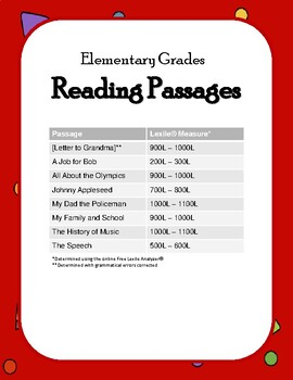 Elementary Reading Passages with Activities