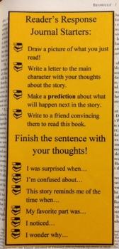 Elementary Reading Response Journal Bookmark