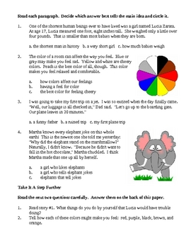 Elementary Reading for Main Ideas - Comprehension Skills and Activities