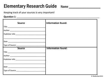Research Forms for Elementary Students