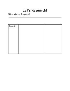 Elementary Research Outline/Organizer