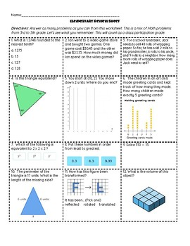 Elementary Review Sheet