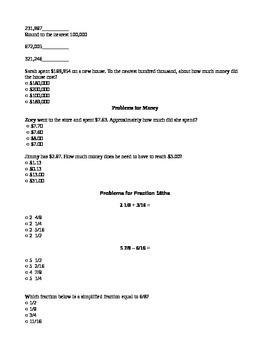 Elementary Rounding Math Manipulatives Diagnostic Assessment