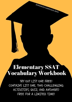 Elementary SSAT Vocabulary Workbook- List one, activities, quiz, and answers