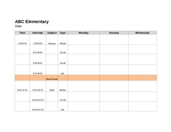 Super Special Education Elementary Schedule Template
