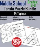 Middle School: 6th to 8th Grade Math Tarsia Puzzle Bundle