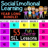 Year Long School Counseling Classroom Guidance Lessons Bundle of 50 Game Shows!