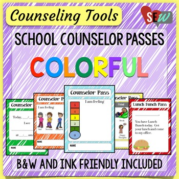 Elementary School Counselor Passes - Colorful Theme