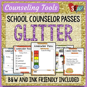 Glitter Theme Elementary School Counselor Passes