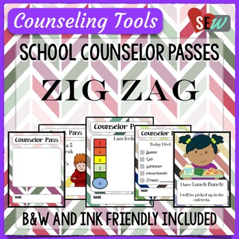 Zig Zag Theme Elementary School Counselor Passes