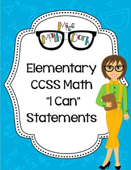 "Elementary School (K, 1st, 2nd) :BUNDLE MATH CCSS ""I Can"" Statements"