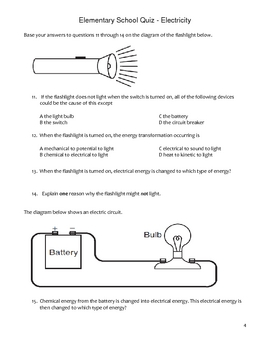 Elementary School Science Quiz - Electricity