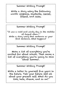 Elementary School Summer Writing Prompts