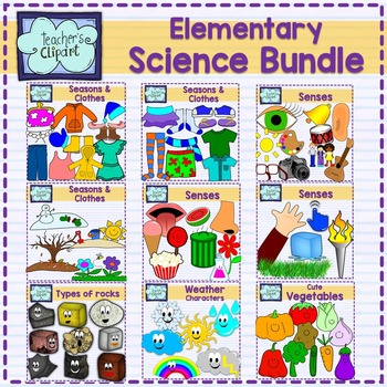Elementary Science Clip art Bundle {324 IMAGES} Colored and line art