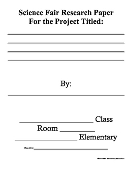 Elementary Science Fair Document Grades 3-6