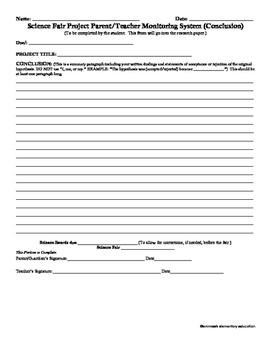 Elementary Science Fair Document Grades 3-6