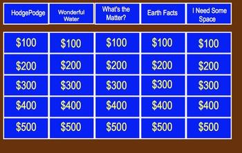 Elementary Science Jeopardy