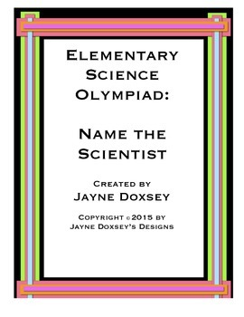 Elementary Science Olympiad Name the Scientist Posters
