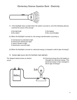 Elementary Science Question Bank - Electricity