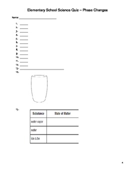 Elementary Science Quiz - Phase Changes in Matter