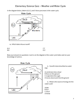 Elementary Science Quiz - Weather and Water Cycle