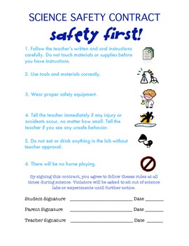 Elementary Science Safety Contract