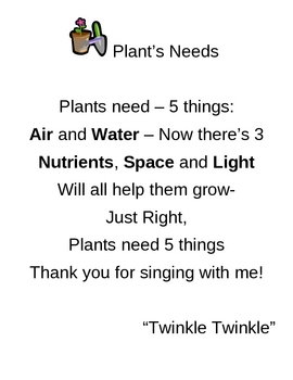 Elementary Science Songs  First Grade Plants