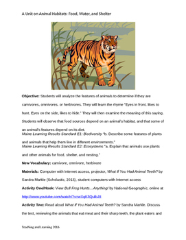 Elementary Science Unit: Ten Lessons on Animal Habitats