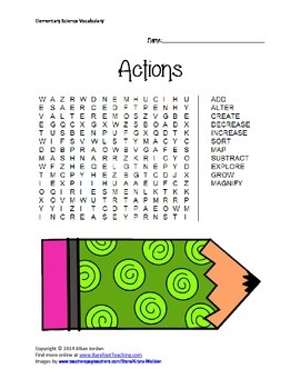 Elementary Science Vocabulary Word Search - Pack of 21