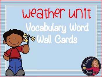Elementary Science Weather Unit key term vocabulary wall carrds