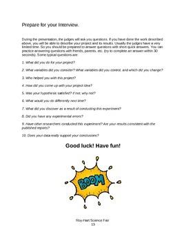 Elementary Science/Invention Fair Student Resource Packet- Editable