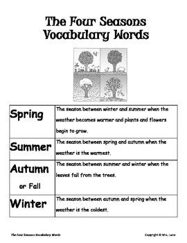 Elementary Seasons Vocabulary Resources