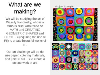Elementary & Secondary Kandinsky Circles Art Project (Pi Day / Math Theme)