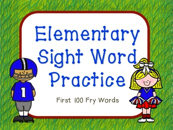 Elementary Sight Words First 100 Sight Words Football Theme