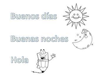 Elementary Spanish Coloring Sheet Buenos Dias