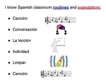 Elementary Spanish Routines Chart