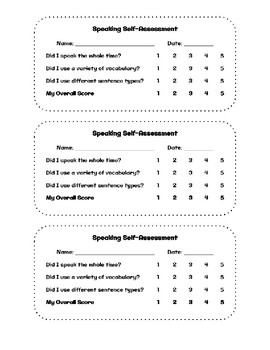 Elementary Speaking Self Assessment for English Learners