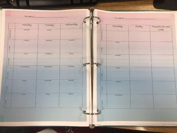 Elementary Specialist Planning Binder