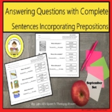 Elementary Speech Therapy Prepositions, Questions and Sent