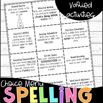 Elementary Spelling Choice Board