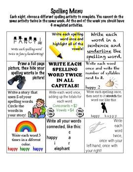 Elementary Spelling Menu