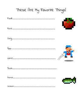 Elementary Student Interest Survey: My Favorites