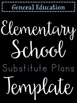 Elementary Sub Plan Template (editable)