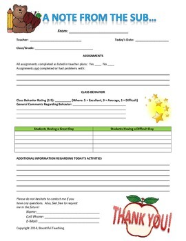 Elementary Substitute Feedback Form - Please Rate My Product!