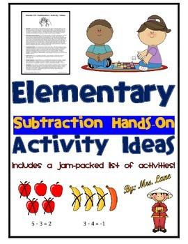 Elementary Subtraction Hands-On Activity Ideas