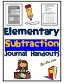 Elementary Subtraction Journal Handouts