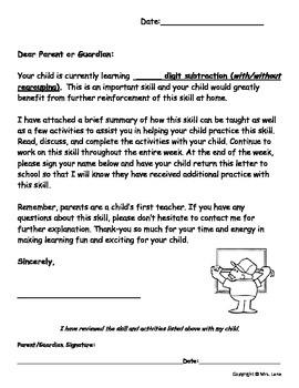 Elementary Subtraction Parent Handouts (Help At Home)