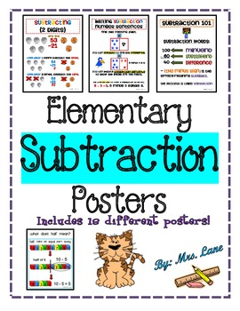 Elementary Subtraction Posters (Includes 18 Different Posters!)