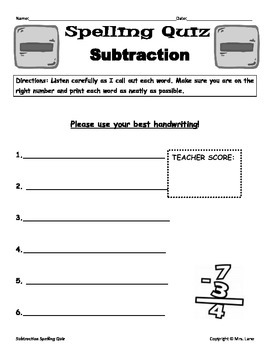Elementary Subtraction Spelling Resources